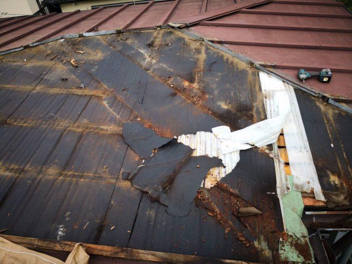 既存屋根撤去状況